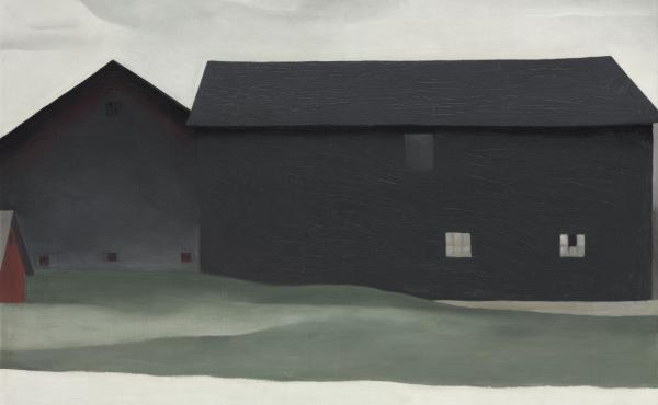 Georgia O'Keeffe's 1926 painting The Barns, Lake George, which has been privately owned and rarely displayed, now joins the collection of the Georgia O'Keeffe Museum in Santa Fe.