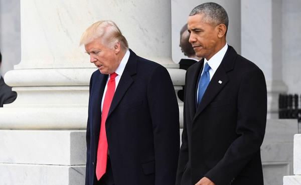 President Trump and former President Barack Obama walk out prior to Obama's departure during the 2017 presidential inauguration.