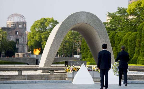 President Obama and Japanese Prime Minister Shinzo Abe lay wreaths at the Hiroshima Peace Memorial Park in Hiroshima on Friday.
