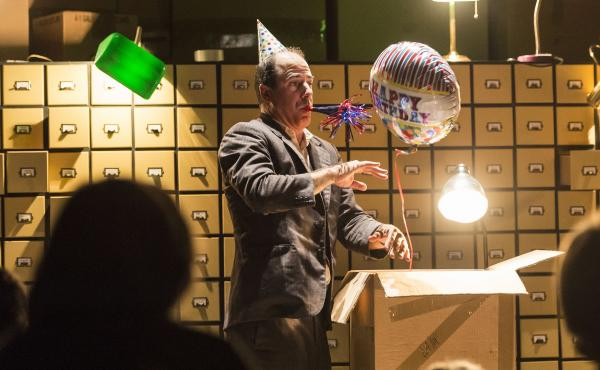 "Actor and illustionist Geoff Sobelle calls his one-man show The Object Lesson a ""meditation on our relationship to things, and to objects and stuff."""