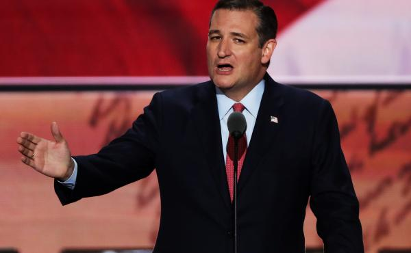 "Sen. Ted Cruz addresses the Republican convention on Wednesday --€"" without endorsing Donald Trump."