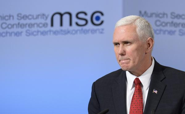 "In a speech in Munich Saturday, Vice President Mike Pence said the U.S. ""strongly supports"" NATO."