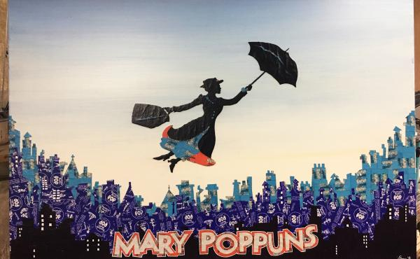 """Mary POPpuns."" Tootsie Pop, Tootsie Roll Frooties and Dum Dum wrappers with acrylic and ink on wood. 2016."