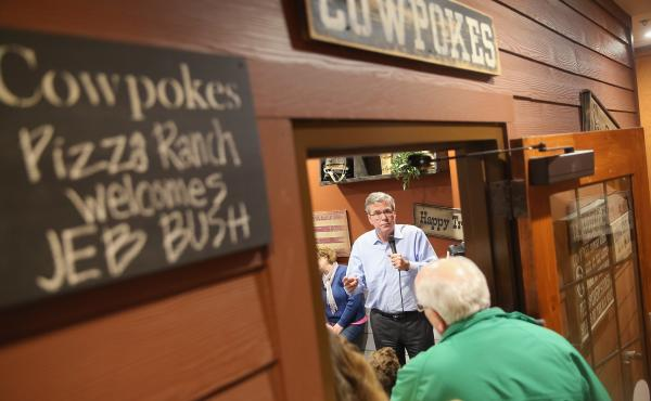 Former Florida Gov. Jeb Bush spoke at a Cedar Rapids Pizza Ranch restaurant in March.