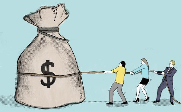 Man, woman and businessman pull a rope wrapped around a bag of money.