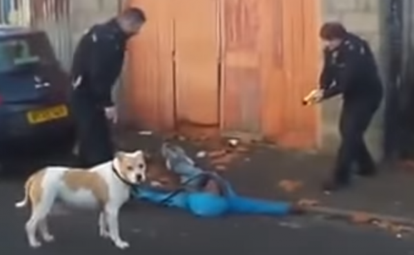 In the video recorded by a neighbor, a police officer is seen using a stun gun on Judah Adunbi during an incident last Saturday in Bristol, England.