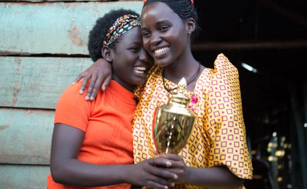 First-time film actress Madina Nalwanga (left) says she often copied co-star Lupita Nyong'o's warm-up exercises on the set of Queen of Katwe.