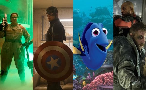 Left to right: Melissa McCarthy in Ghostbusters, Chris Evans in Captain America: Civil War, Ellen DeGeneres in Finding Dory, Will Smith and Jai Courtney in Suicide Squad.