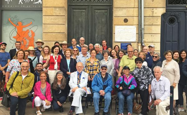 Those who were helped by Portugal's consul general, Aristides de Sousa Mendes, during World War II assemble outside the former Portuguese consulate in Bordeaux. Sousa Mendes issued 10,000 visas to Jews including Stephen Rozenfeld (center front, in blue),
