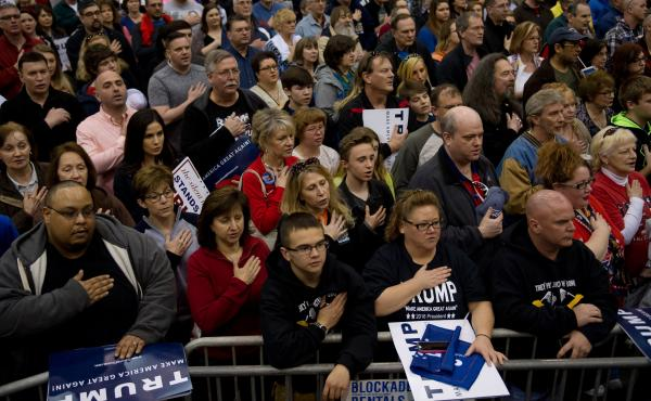 Supporters of Donald Trump attend a campaign event at the I-X Center in Cleveland, Ohio, on Saturday.