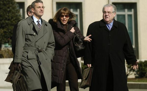 Former New York Times journalist Judith Miller along with her legal team including Robert Bennett, right, leaves U.S. District Court in Washington in 2007. Miller was jailed for nearly three months after refusing to testify in a CIA leak investigation.