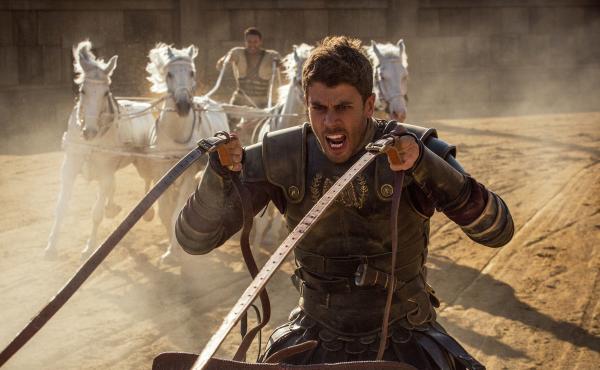 Toby Kebbell (rear) plays Messala Severus and Jack Huston (front) plays Judah Ben-Hur in Ben-Hur.