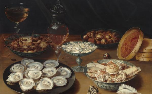 Dishes with Oysters, Fruit, and Wine, c. 1620/1625, oil on panel, Patrons' Permanent Fund