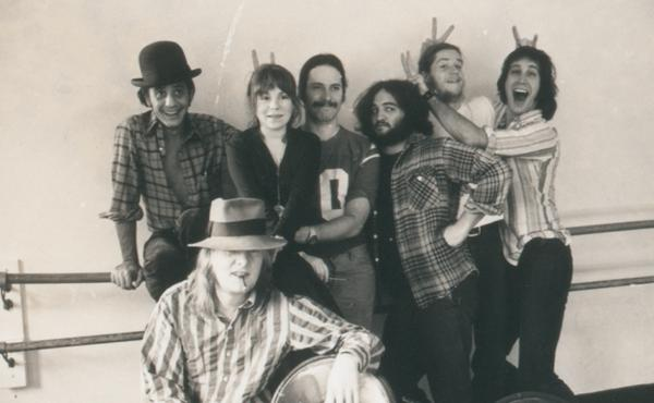 Lampooners Garry Goodrow, Alice Peyton, Christopher Guest, John Belushi, Peter Elbling, Chevy Chase and Tony Hendra in this undated photo from Drunk Stoned Brilliant Dead.