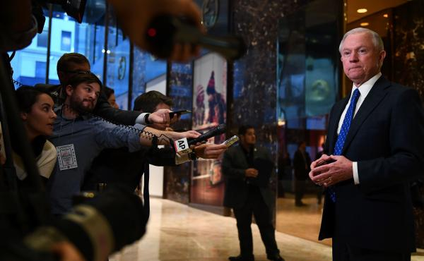 Sen. Jeff Sessions of Alabama talks to the media at Trump Tower in New York Thursday. Sessions was picked to be President-elect Donald Trump's attorney general Friday.