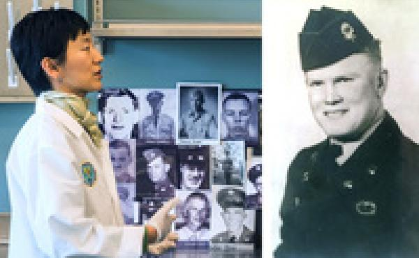The remains of Charles Ivey (right), who died during the Korean War, were recently returned to his family in North Carolina after his remains were identified by the work of the K208 project, run by Jennie Jin (left).