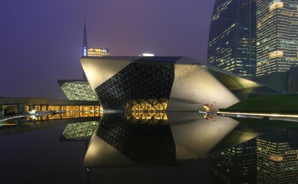 Guangzhou Opera House in Guangzhou, China, was designed by Zaha Hadid, a Pritzker-winning architect. Hadid died at 65.