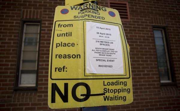 A suspended parking sign that was posted in London in 2015. Joshua Browder, a 20-year-old from London, who's now attending Stanford, has come up with a bot that can write letters appealing parking tickets. He claims a 60 percent success rate in cities whe