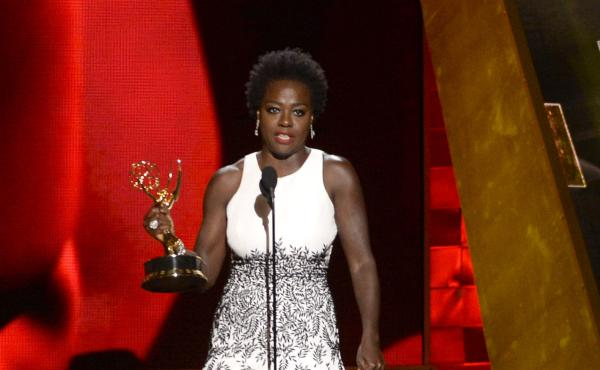 Viola Davis accepts the Emmy for outstanding Best Actress in a Drama series for How to Get Away With Murder at the 67th Primetime Emmy Awards on Sunday in Los Angeles.