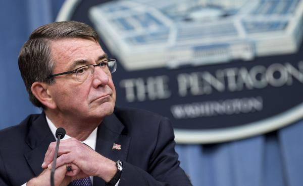 """U.S. Secretary of Defense Ashton Carter, shown here at the Pentagon in March, has said the """"new breed of warrior"""" — cyberwarriors — will be expected to fight just as hard as their colleagues on conventional battlefields."""