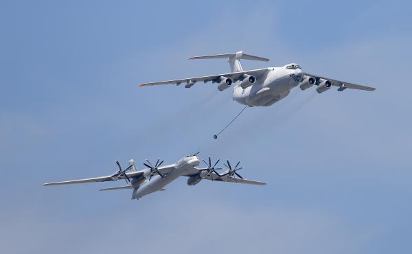 An Ilyushin Il-78 Midas air force tanker and a Tupolev Tu-95MS Bear strategic bomber flew during a military parade in 2015 in Moscow. The Bear bomber is among the weapons Russia has used in Syria.