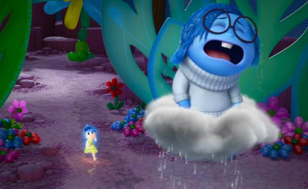 """[Sadness is] such a funny opposite energy to Joy, who is literally jumping up and down,"" Poehler says. ""And Sadness just wants to lie down and kind of feel her feelings."" Poehler plays Joy (left) and Phyllis Smith plays Sadness in the new film Inside Out"