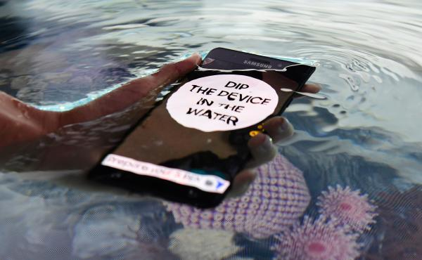 The Galaxy Note 7 — shown at the IFA electronics trade fair in Berlin on Wednesday — is waterproof, as this demonstration was designed to highlight. But it turns out users might have another reason to drop it in water: Several dozen users have seen th