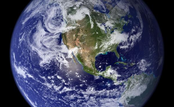 """NASA says this """"blue marble"""" image is the most detailed true-color image of the entire Earth to date."""