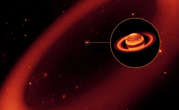 An artist's conception of how Saturn's immense Phoebe ring might appear to eyes sensitive to infrared wavelengths.