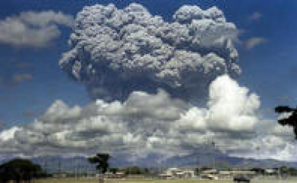 The eruption of Mount Pinatubo in the Philippines in 1991 spewed almost 20 million tons of sulfur dioxide into the atmosphere, causing worldwide temperatures to drop half a degree on average.