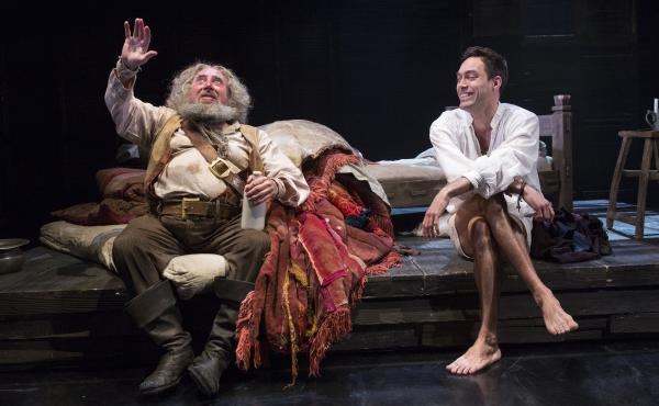 In Henry IV, Sir John Falstaff, played by Antony Sher (left), is a rogue and a liar, but he also serves as a mentor to King Henry IV's son, played by Alex Hassell.