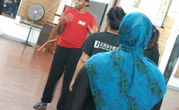 About two-dozen Muslim women attended a recent self-defense class in New York City.