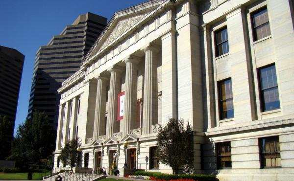 A view of the eastern entrance to the Ohio Statehouse.