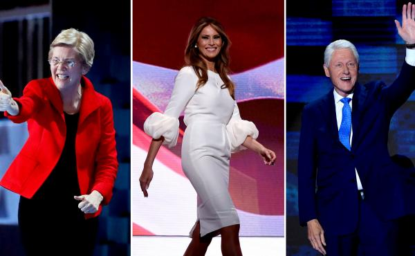 Massachusetts Sen. Elizabeth Warren, Melania Trump and former President Bill Clinton show off their patriotic wardrobes at the conventions.
