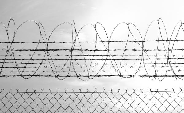 Barbed Wire Fence. Prison Fence in Black and White Closeup