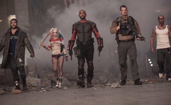 Boomerang (Jai Courtney), Harley Quinn (Margot Robbie), Deadshot (Will Smith), Rick Flag (Joel Kinnaman) and El Diablo (Jay Hernandez) in Suicide Squad.