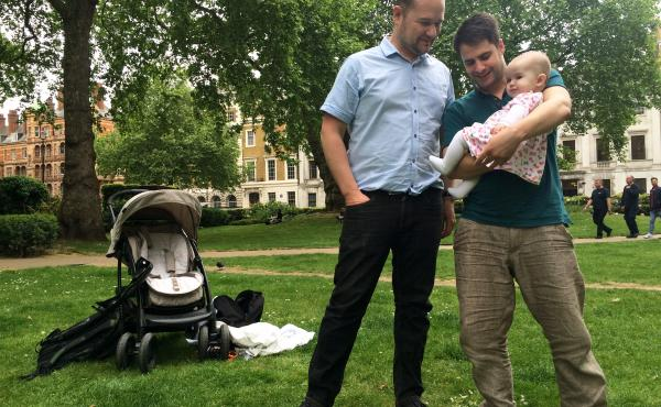 Simon Clements, left, and Steve Williams with their 6-month-old daughter, Sophie, in London. The two British men began the process of finding a surrogate mother more than two years ago. While legal in the U.K., the practice of surrogacy is tightly restric