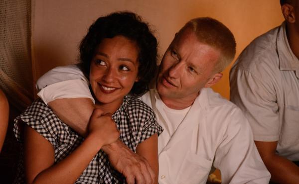 Ruth Negga and Joel Edgerton as Mildred and Richard Loving in Loving.