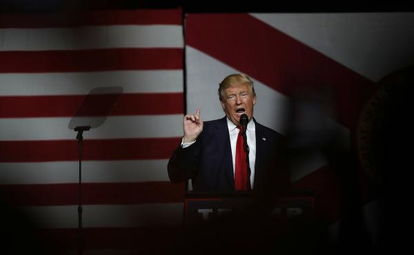Republican presidential candidate Donald Trump speaks during a campaign rally  on Oct. 13 in West Palm Beach, Fla.