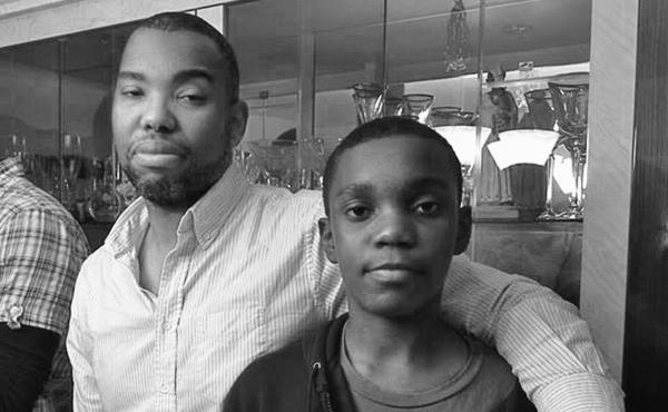 Coates with his son Samori.