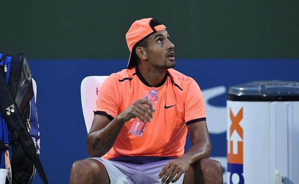 Nick Kyrgios of Australia complains to the referee during his men's singles match against Mischa Zverev of Germany at the Shanghai Masters tennis tournament on Wednesday.