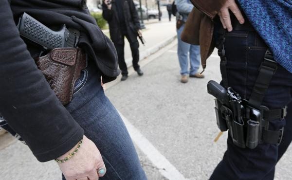 Open-carry supporters attend a rally earlier this month in Austin, Texas.