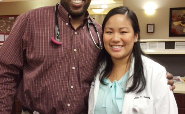 Medical student Karen Duong worked in Hereford, Texas, with Dr. Akinyele Lovelace, an instructor with the University of North Texas Health Science Center's rural medical education program.