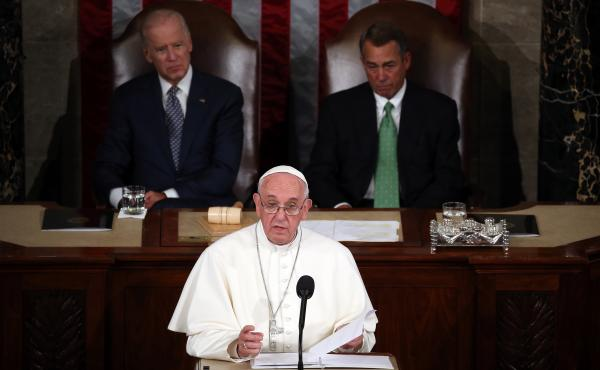 Pope Francis speaks in the House Chamber of the U.S. Capitol on Thursday. He is the first pope to address a joint meeting of Congress.
