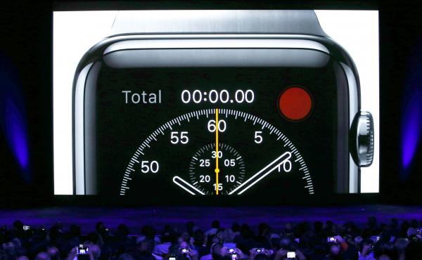 A video about the Apple Watch is shown during an Apple special event in Cupertino, Calif.