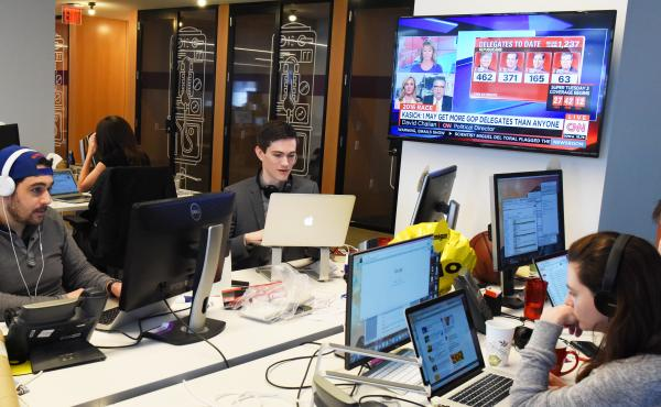 BuzzFeed's K-File (from left: Andrew Kaczynski, Nathan McDermott, Chris Massie and Megan Apper) has been covering the 2016 election by revealing the candidates' contradictions, hypocrises and misstatements.