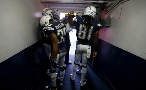 The San Diego Chargers prepare to take the field before a Jan. 1 game against the Kansas City Chiefs in Qualcomm Stadium, in what was the final home game for the Chargers in San Diego.