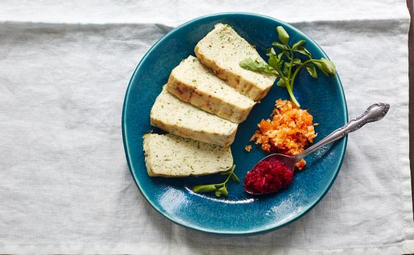 Herbed gefilte fish is baked in a terrine for a brighter, fresher take on tradition.