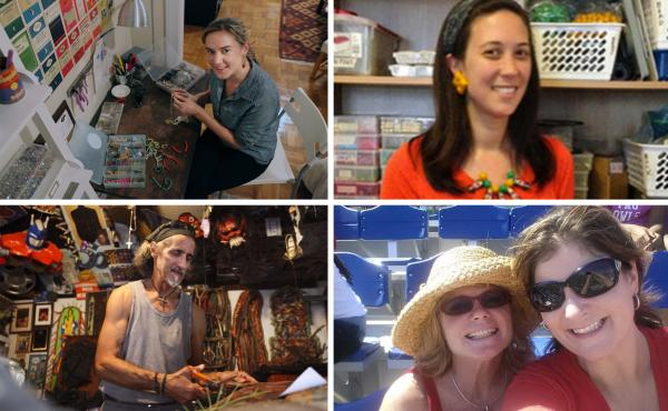 """Erin Pruckno, a preschool teacher in Washington, D.C. (clockwise from top left); Mei-Ling Uliasz, a second-grade teacher in Danbury, Conn.; Elizabeth Metzger, right, an educator in south Florida, with a friend at a football game; and Mathias """"Spider"""" Sche"""