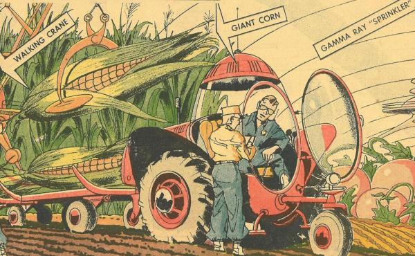 Arthur Radebaugh imagined gigantic crops in his syndicated Sunday comic strip Closer Than We Think, which ran from 1958 until 1963.